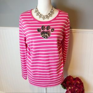 Quacker Factory pink striped paw print top